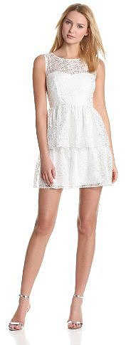 maxandcleo Women's Lace Inset Peplum Dress