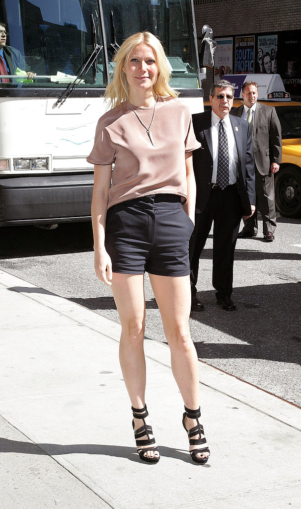 The trendsetter looked cute and casual in a blush blouse, high-waisted black shorts, and strappy Emilio Pucci sandals while visiting the Late Show With David Letterman in NYC.