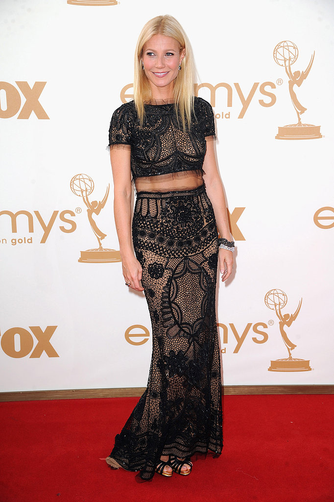 Gwyneth struck a pose on the Emmys red carpet in an ornate Emilio Pucci two-piece gown and strappy satin sandals by Roger Vivier.