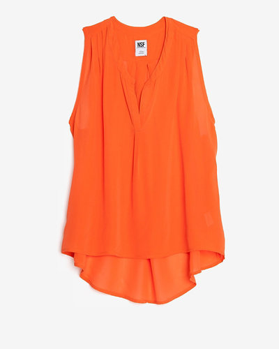 Nsf Exclusive Split Collar Sleeveless Silk Blouse
