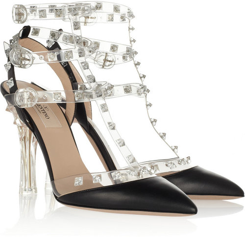 Valentino Studded leather and PVC sandals
