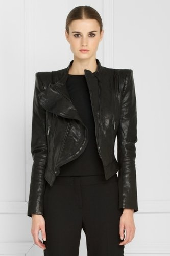 Zipper-Detail Leather Jacket