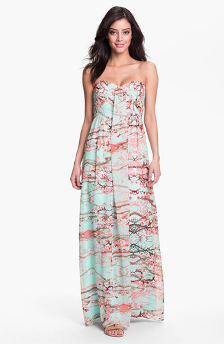 Jessica Simpson Strapless Print Maxi Dress