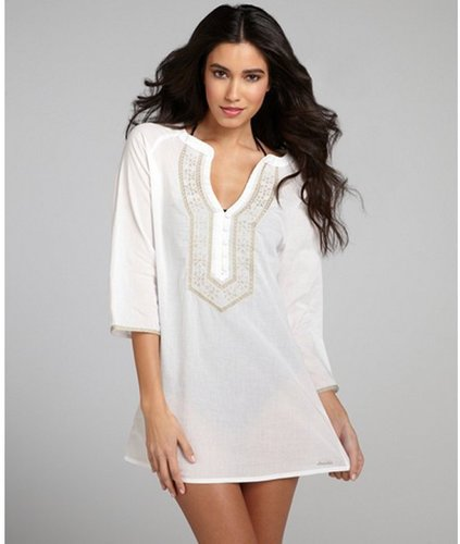 OndadeMar white and taupe cotton embroidered button down coverup