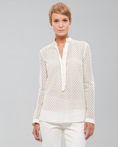 Akris punto Long-Sleeve Lace Blouse, Ecru