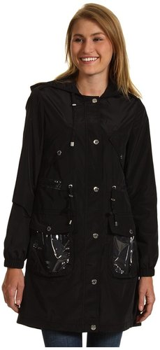 Betsey Johnson - 3/4 Length Raincoat w/ Plastic Trim (Black) - Apparel