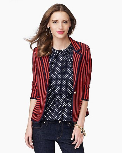 Nautical Knit Striped Blazer