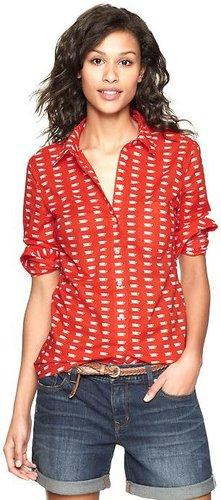Teacup print popover shirt