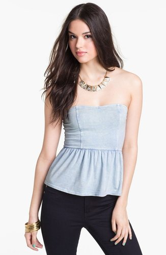 Painted Threads Strapless Peplum Top (Juniors) (Online Exclusive)