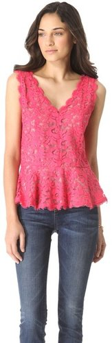 Madison marcus Lace Sleeveless Peplum Top