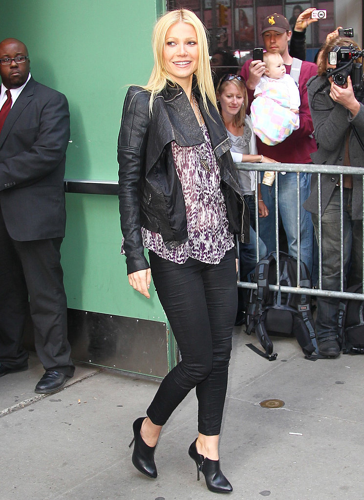 After chatting with GMA in NYC, Gwyneth stepped out in a Rick Owens leather jacket, printed Etoile Isabel Marant blouse, and leather ankle boots.