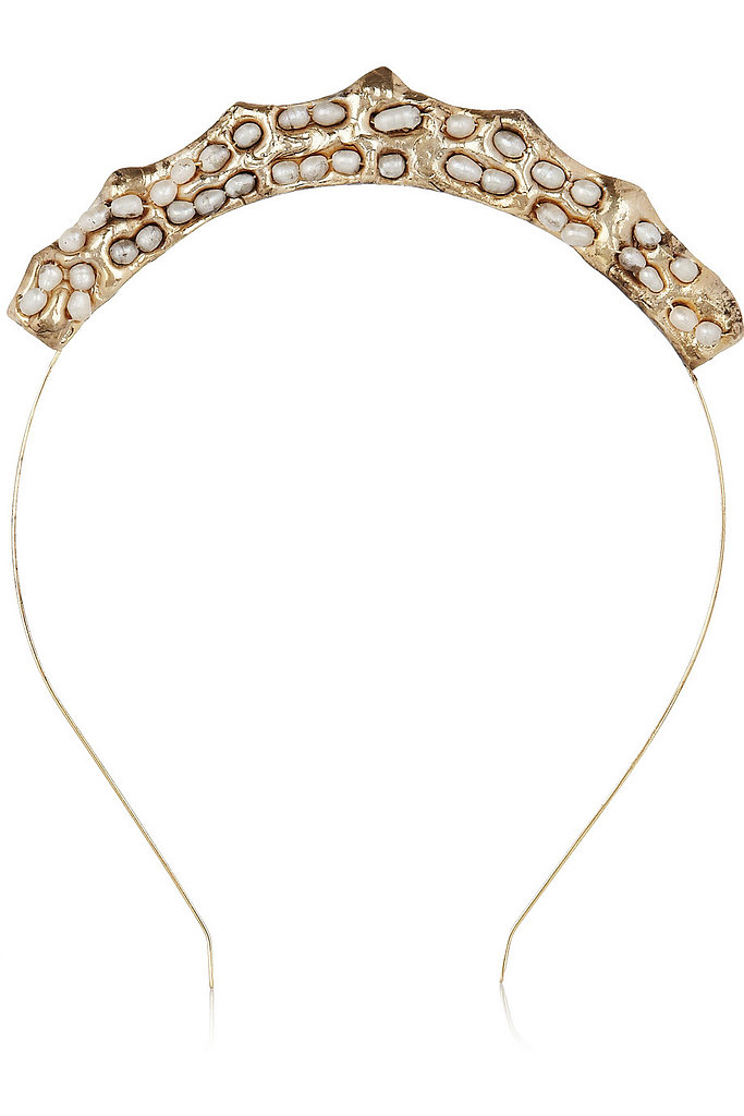 Rosantica's Principessa gold-dipped freshwater pearl headband ($345) is a cool option for the edgier bride.