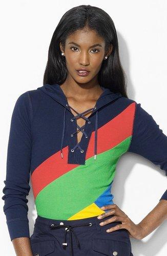 Lauren Ralph Lauren Colorblock Lace Up Hoodie (Petite) (Online Exclusive)