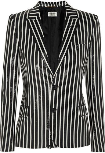 Saint Laurent Striped glossed rayure-effect blazer