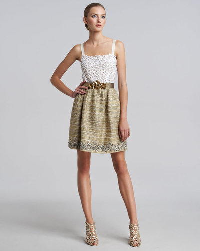 Oscar de la Renta Metallic Tweed Embellished Skirt