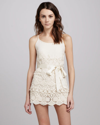 RED Valentino Spaghetti-Strap Short Lace Jumpsuit
