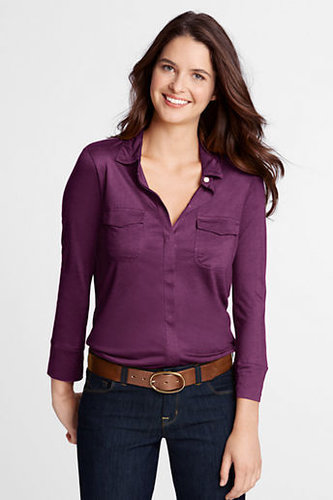 Women's Regular 3/4-sleeve Drapey Knit Button-front Shirt