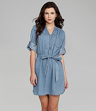 Sequin Hearts 3/4-Sleeve Chambray Shirt Dress