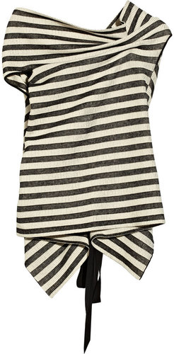 Roland Mouret Alston striped ribbed-knit cotton-blend top