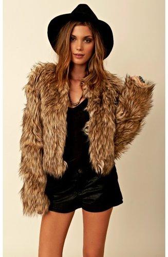 bb dakota Pele Coyote Faux Fur Jacket