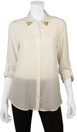 Iz byer california chiffon stud button-front top - juniors