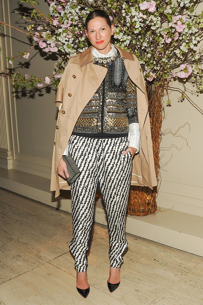 Jenna Lyons stepped out at the New Museum Spring gala in her signature mix of print-on-print layers, standout jewels, and classic menswear-inspired pieces. Source: Neil Rasmus/BFAnyc.com