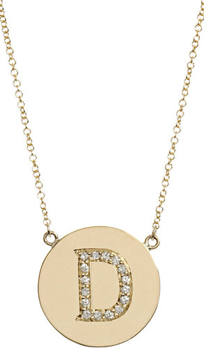 Jennifer Meyer Yellow Gold & Diamond 'D' Pendant Necklace