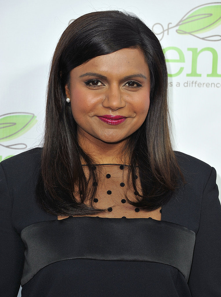 Mindy Kaling attended the Verte Grades of Green annual fundraising event donning her signature deep side part and berry lips.