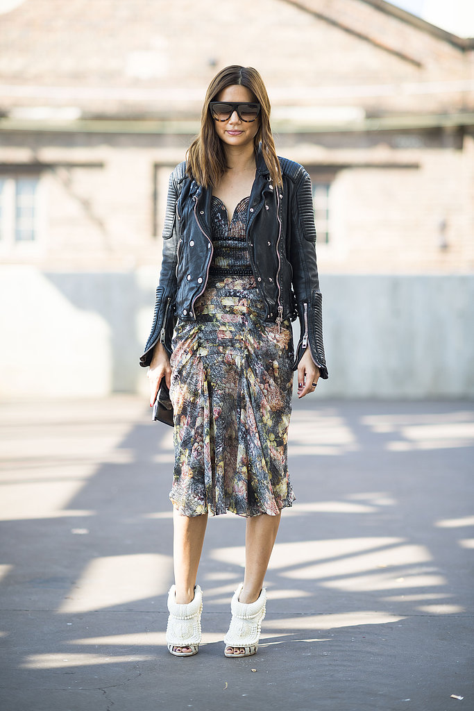 Christine Centenera crafted a cool mix with abstract print, leather, and statement-making heels. Source: Le 21ème | Adam Katz Sinding