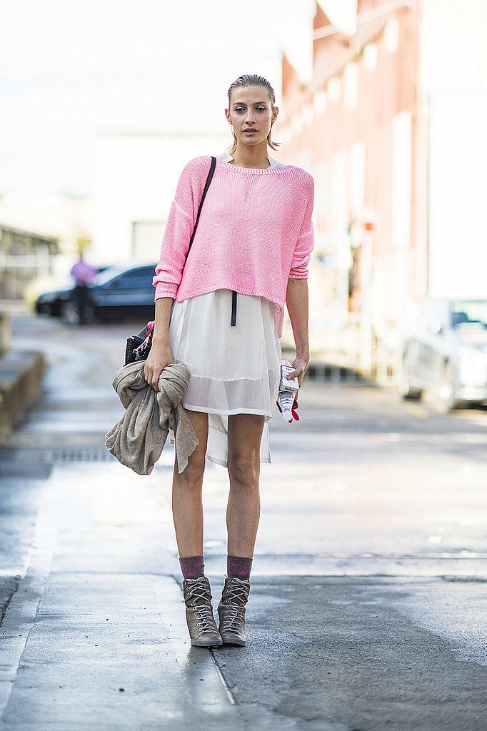 A neon knit gave a semisheer white dress a cool color story. Source: Le 21ème | Adam Katz Sinding