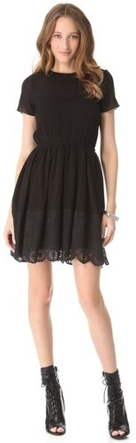 Girl. by band of outsiders Short Sleeve Dress with Lace