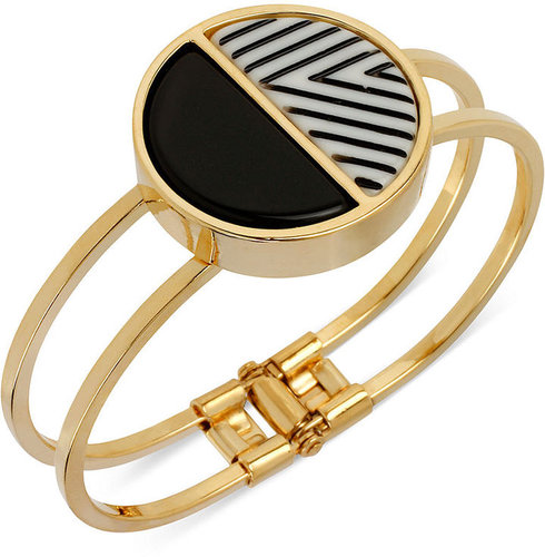 Kenneth Cole New York Bracelet, Gold-Tone Striped Geometric Hinged Bangle Bracelet