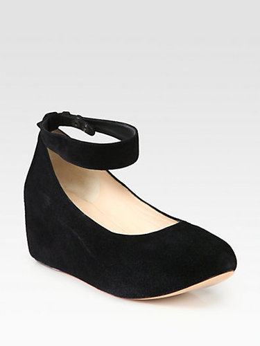 Chloe Suede Ankle Strap Wedge Pumps