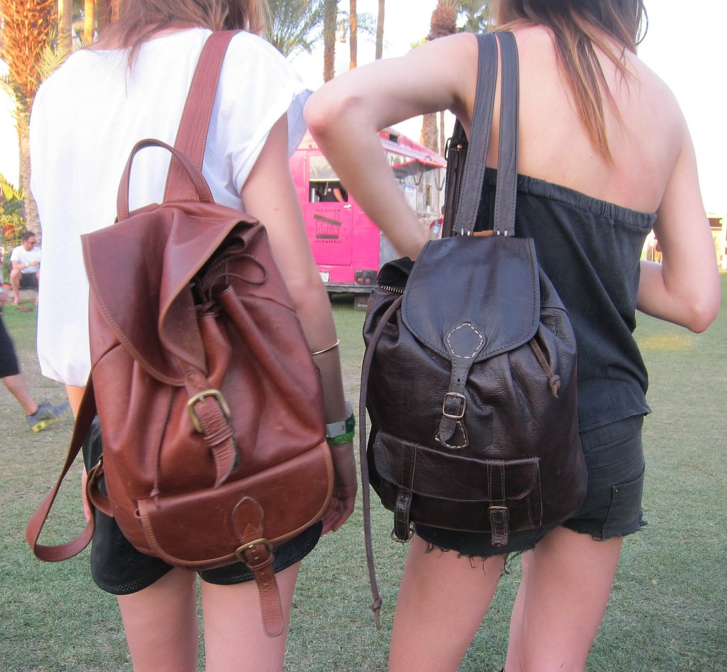We spotted a few of our favorite models in matching distressed backpacks.