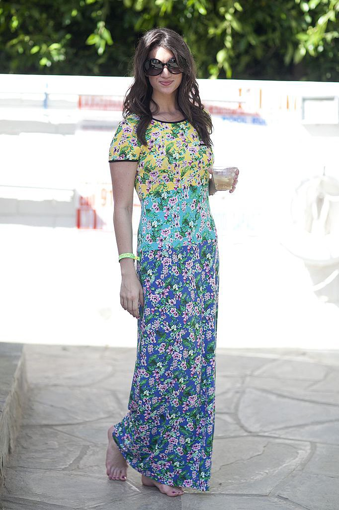 Floral prints and colorblocking made for a statement Coachella p