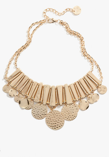 Textured Coin Statement Necklace