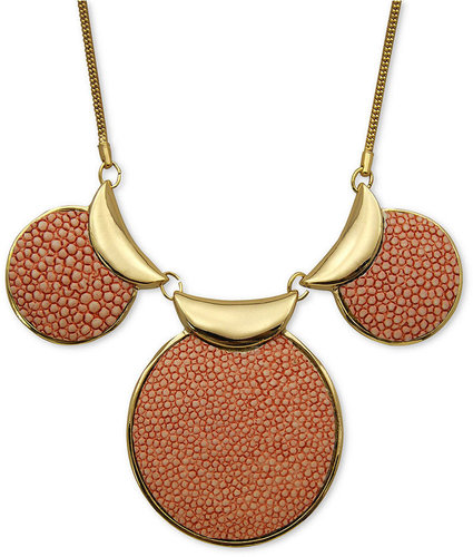 GUESS Necklace, Gold-Tone Pink Stingray Texture Disc Statement Necklace
