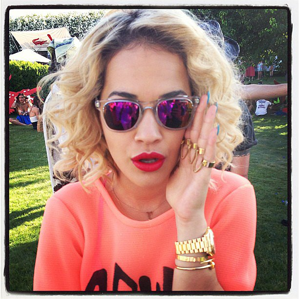Rita Ora showed off her purple shades and filled her fans in on her Coachella weekend on Sunday. Source: Instagram user ritaora