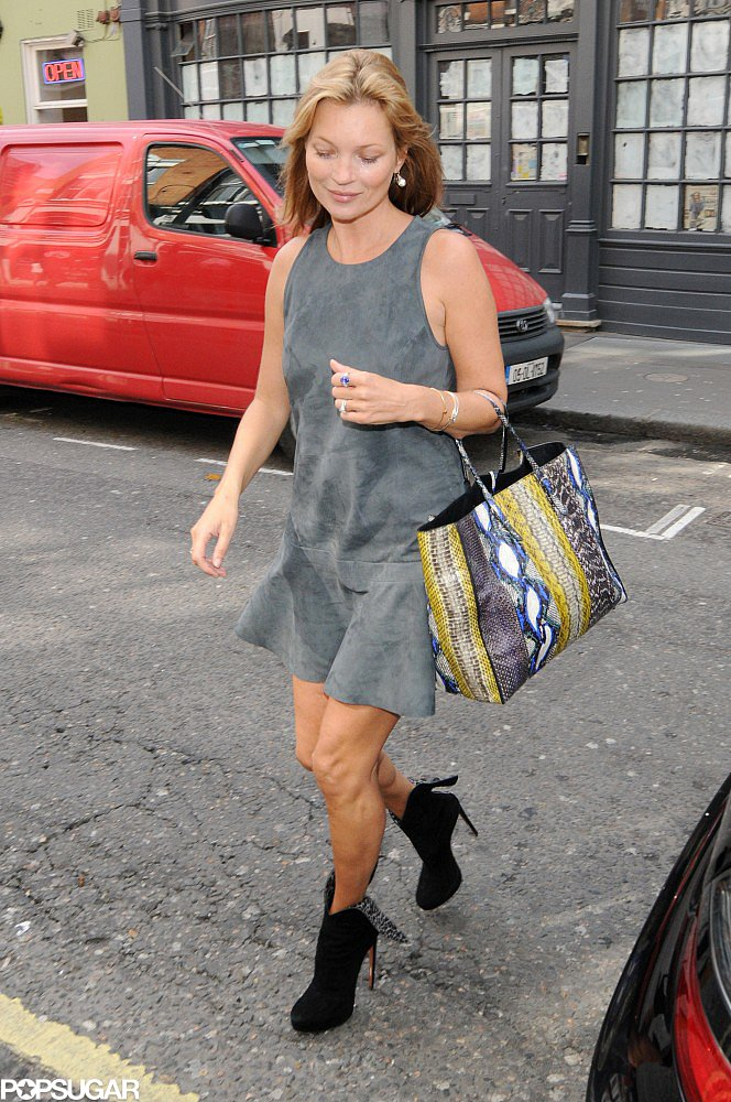 Kate Moss Goes Gray For a London Dinner Date