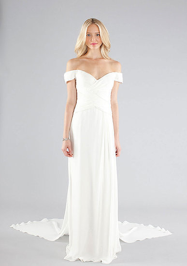 Nicole Miller's off-the-shoulder gown ($1,245) is simple in terms of the fabric — no embellishments, no sequins, nothing — but the off-shoulder detail makes it a must have.