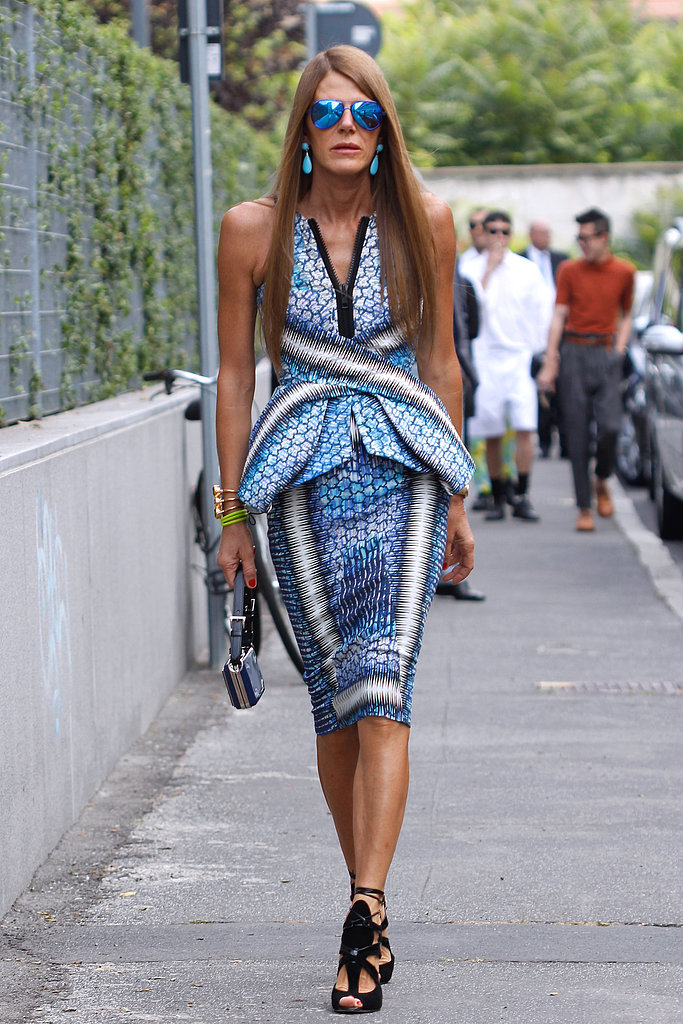 Anna Dello Russo attended Milan Fashion Week menswear shows in this Peter Pilotto knee-length peplum dress in June 2012.