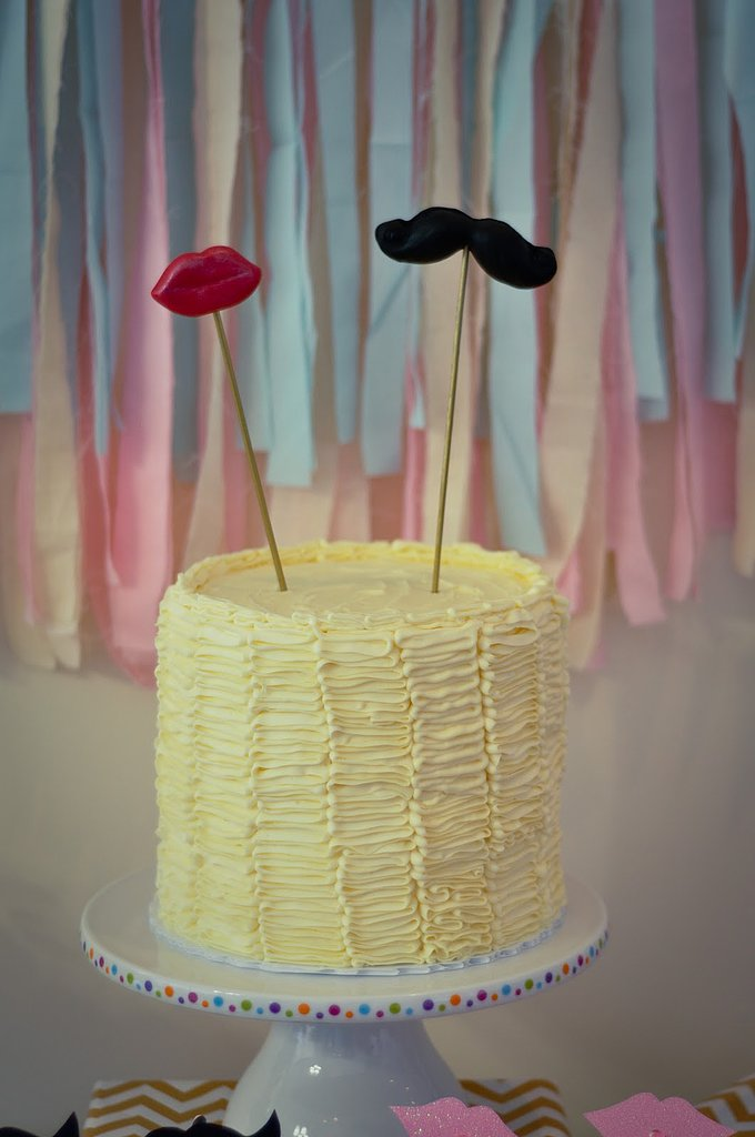 Lips- and Mustache-Topped Cake