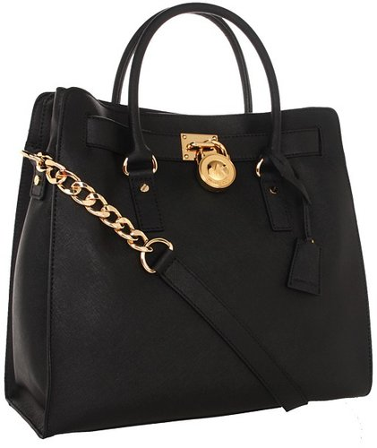 MICHAEL Michael Kors - Hamilton Large North/South Tote w/ 18K Gold Hardware (Black) - Bags and Luggage