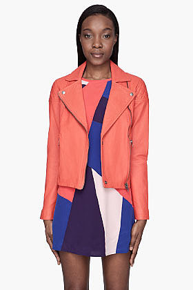MARC BY MARC JACOBS Orange Jett lamb Leather biker Jacket