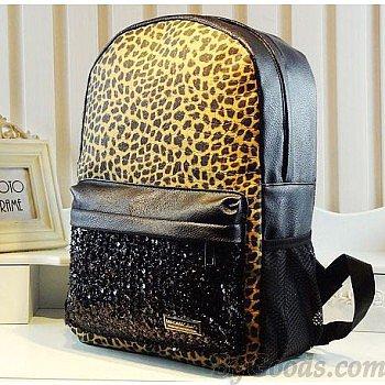 Fashion Leopard Sequins Shoulder Bag &Backpack