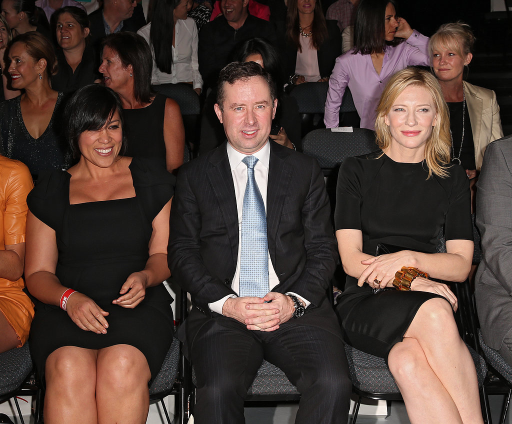 Kate Cebrano, Alan Joyce and Cate Blanchett at the Qantas new uniform unveiling.