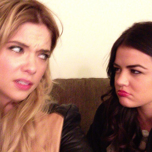 Ashley Benson and Lucy Hale traded dirty looks on the set of Pretty Little Liars. Source: Instagram user itsashbenzo