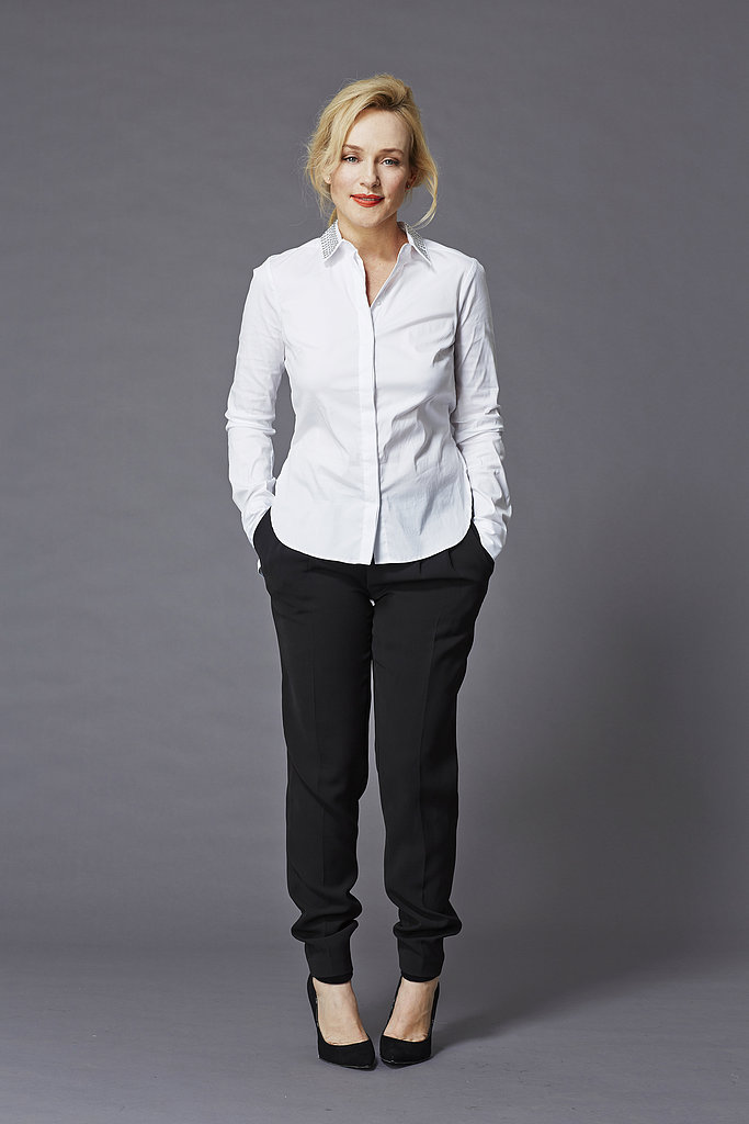 Susie Porter made the studded collar shirt look effortless.