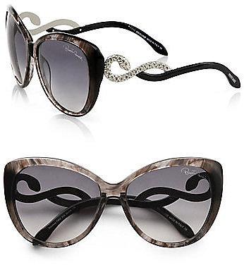 Roberto Cavalli Kurumba Glam Cat's-Eye Crystal Snake Sunglasses
