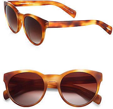 Oliver Peoples Alivia Oval Plastic Sunglasses/Light Havana